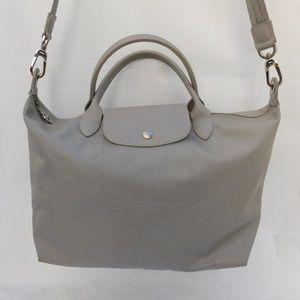 LONGCHAMP  Le Pliage Gray Nylon/Leather Crossbody